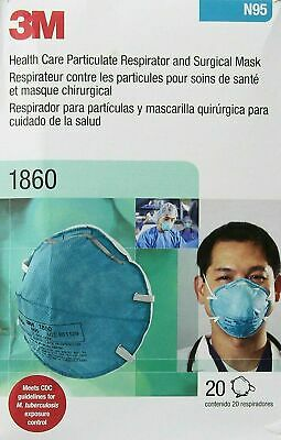 New Lot 3M 1860 N95 Particulate Respirator and Surgical Mask 20 Pc Box EXP 2025