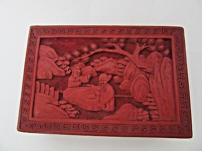 Antique 19Th Century Chinese Red Cinnabar Deeply Hand Carved Lacquered Jewelry B