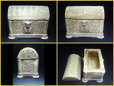 EGYPTIAN ANTIQUES ANTIQUITIES Lided Stone Sarcophagus Coffin Tomb 1549-1082 BC
