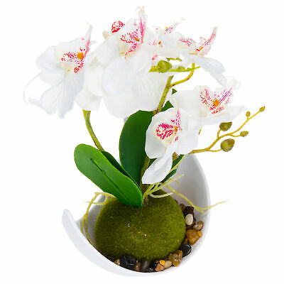 Artificial Flower Decoration, Synthetic Orchids w/ Sleek Curved Planter, White