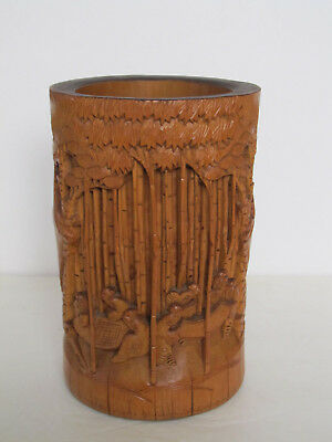 """Fine Old Chinese Carved Figure Design Bamboo Brush Pot 8"""""""