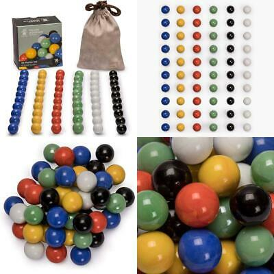 Includes Velvet Drawstring Pouch 16mm Marbles for Chinese Checkers Set of 60