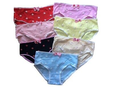 Teen Girls Underwear 7 Pack Strawberry Briefs/Pants/Knickers (One Size to Fit 11