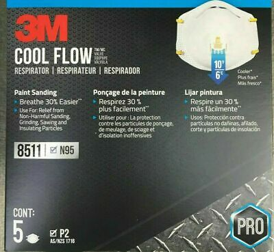 3M 8511 Respirator Mask N95 Cool Flow Exhalation Valve (5-Count) FAST SHIPPING