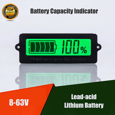 8-63V LCD Acid Lead Lithium Battery Capacity Indicator Digital Voltmeter