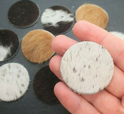40mm Genuine Hair on Cowhide Leather Circles - 6pc Leather Cabochon