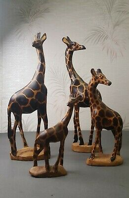 Family of 4 Hard Wood Hand Carved Wooden Giraffe Figures Figurines Decor