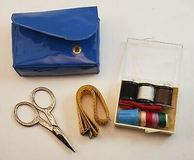 """Vintage Sewing Kit in Case - Scissors 60"""" Measuring Tape Thread Needle Thimble"""