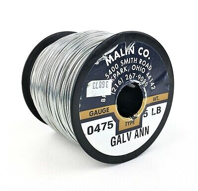 Malin Co. Galvanized Annealed 0.0475 Diameter Safety Baling Wire, Spool - 5 LB