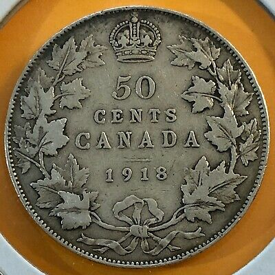 1918 Canada, 50 Cents /Half Dollar, Silver Coin, Old Canadian Antique