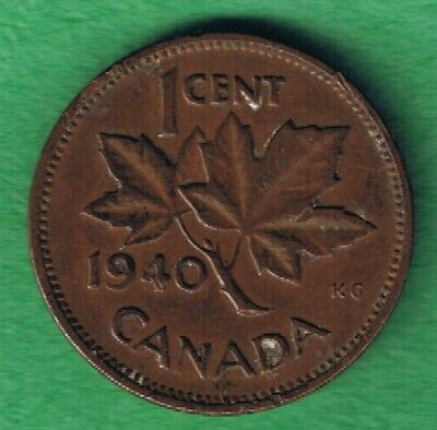 1940 George VI Canada Canadian One Cent Penny Circulated~Nice