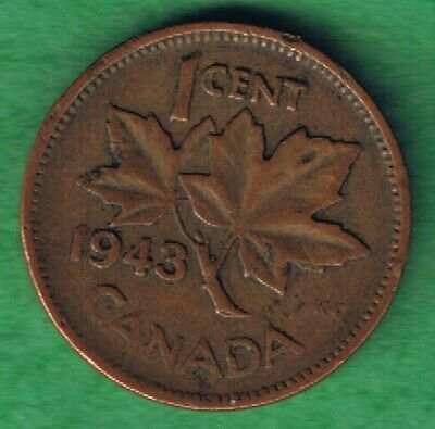 1943 George VI Canada Canadian One Cent Penny Circulated~Nice