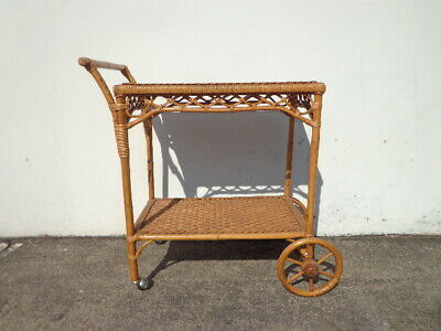 Bar Cart Bamboo Rattan Wicker Bohemian Boho Chic Tea Mid Century Vintage Serving