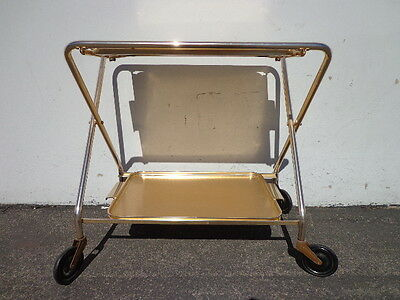 Mid Century Bar Cart Woodmet Folding Gold Copper Brass Vintage MCM Tea Serving