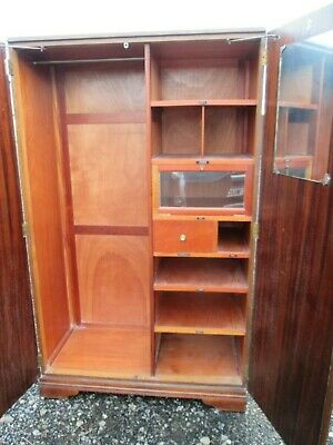 Vintage Art Deco Gentleman's Wardrobe CROWN AY Furniture Teak Compactum Style