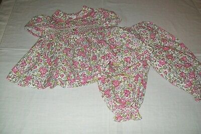 Baby girl's nightwear smocked pyjamas from Sally's Stitches aged 6 months