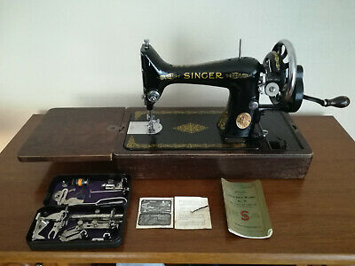 Vintage Singer Hand Crank Sewing Machine, Accessories + Case  99k EC Series