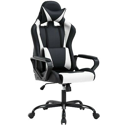 High Back Gaming Chair PC Office Chair Racing Computer Chair Task PU Desk Cha...
