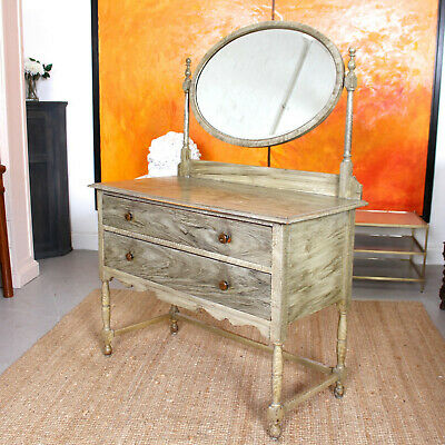Antique Dressing Table Green Scumbled Edwardian Mirror Painted