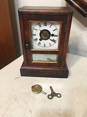 Antique Seth Thomas Mini Cottage Clock Horseshoe Shape Movement #1