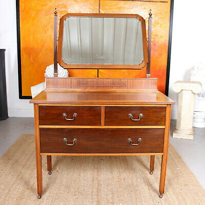 Antique Dressing Table Chest of Drawers Mahogany Mirror Victorian 19th Century