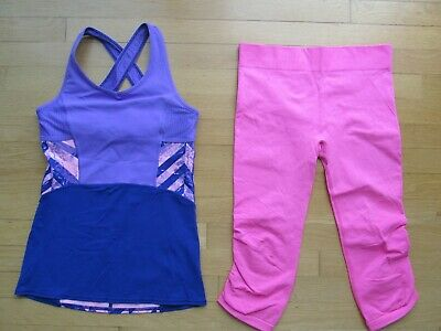 Ivivva By Lululemon  Girl's Size 14 Two Athletic Wear Tank Top & Crop Legging