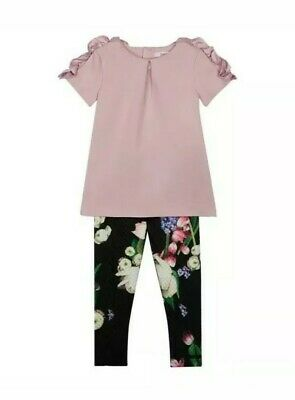 Ted baker girls lilac top and floral leggings set with sizes. Designer