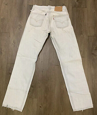 VTG Levis 501 Button Fly Distressed Destroyed Jeans Size 26 X 31 Made USA