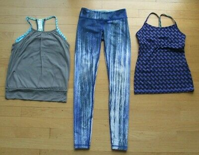 Ivivva By Lululemon  Girl's Size 10 Lot of 3 Athletic Wear Tank Tops & Leggings
