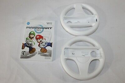 Nintendo Wii Mario Kart Bundle - COMPLETE Game, 2 Steering Wheels