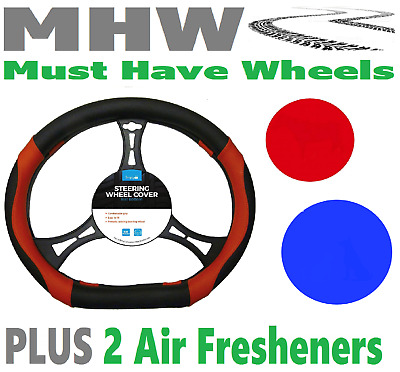 Simply SWC131 Black & Red Flat Bottom Steering Wheel Cover & 2 Air Round Fresh