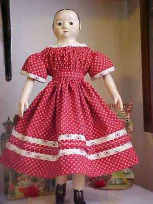 "Antique Repro Dark Red Dress For 17-19"" Izannah Walker, China, Parian Doll"