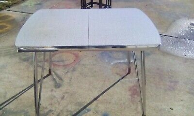 """Vtg Howell Co Midcentury Kitchen Dinette Table Laminate Gray 30""""X 40"""" or 48"""" wlf"""