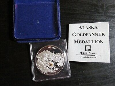 Alaska Goldpanner Silver Medallion with Genuine Gold Nugget