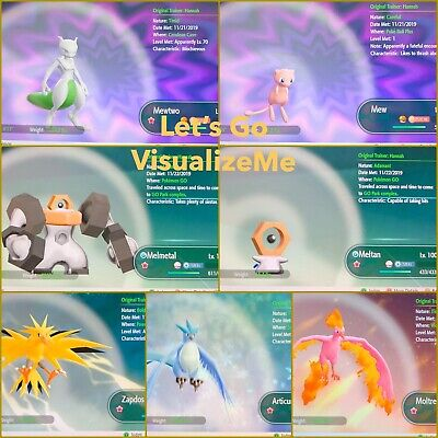 Pokemon Let's Go Pikachu & Eevee 7x Shiny Legendaries 6IV/Max/AV Set [PLGPE]