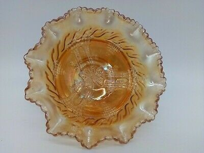 Butterfly & Bower Marigold Australian Carnival Glass Footed 16 Cm Bowl Vg Cond.