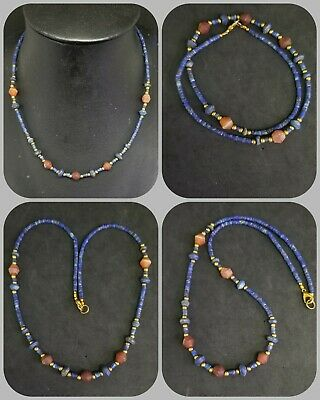 Unpolished lapis lazuli with carnelian and gold plated beads wonderful necklace