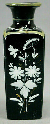 19th Century Victorian Hand Enameled White Floral Black Amethyst Perfume Bottle