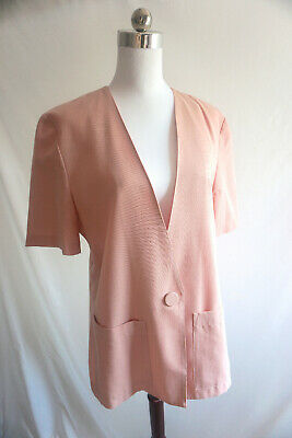 Womens vintage Katies Summer dusty pink short sleeve jacket 1980's size 6- 8-10