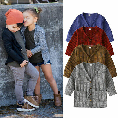 AU Toddler Kid Baby Boys Girl Top Cardigan Jacket Coat Outerwear Knitted Clothes