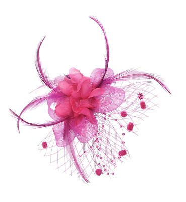 Ladies Wedding Pink Cerise Flower & Feather Pearl Hairclip Brooch Fascinator