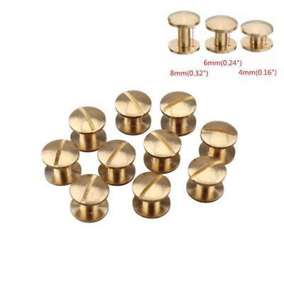 5//20 pcs Round Chicago Screw 4-7mm Solid Brass Fastener for Belt Harness Leather