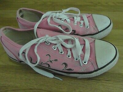 Pre-Owned: LADIES / GIRLS SIZE 4 LEE COOPER CANVAS PINK TRAINERS / SHOES