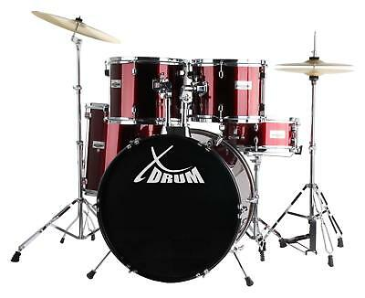Set de Batteria Acustica 20'' Percussion Drum Kit Platillo Sillin Baquetas Rojo