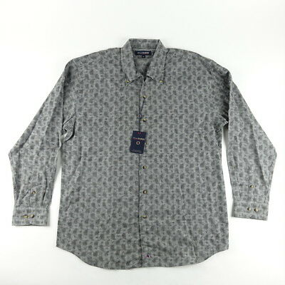 Oliver Harris Shirt Sz L Large Mens Button Down Cotton Paisley Charcoal Gray NWT