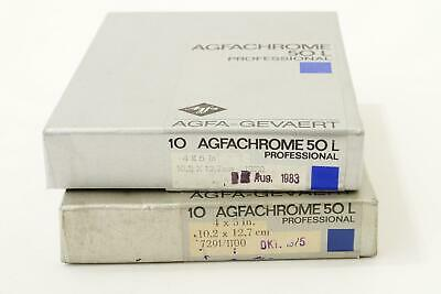 2x Agfachrome 50L slides, 4x5 inch, boxed and sealed, expired