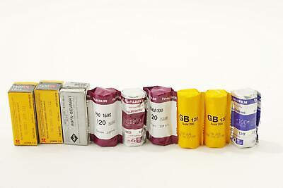 lot of 9x various films, 120 type, expired, E-6, C41 and BW
