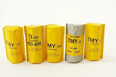 lot of 4x Kodak T-Max 400 TMY + 1x TRI-X films, 120 type, expired, BW