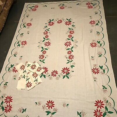 "Vintage 100"" x 70"" Christmas Poinsettia Tablecloth and Napkins 98"" x 68"""