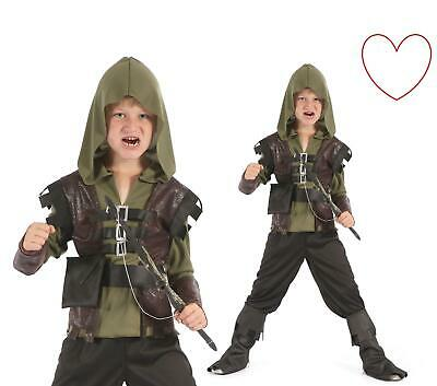 Boys Medieval Assassins Creed Costume Kids Fancy Dress Robin Hood Book Week Day